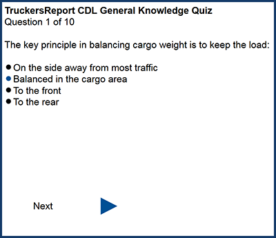 Practice quiz for CDL General Knowledge Test