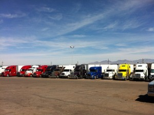 Trucks lined up at truckstop