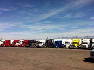 Trucks lined up at truckstop